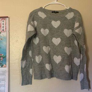 Fuzzy heart print sweater